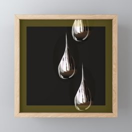 Silver Painting Drops On A Black Background in Golden Frames #decor #society6 Framed Mini Art Print