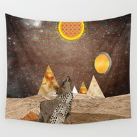 howl Wall Tapestries featuring Wolf howl by Design4u Studio