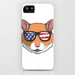 Patriotic Hamster Merica American Flag iPhone Case