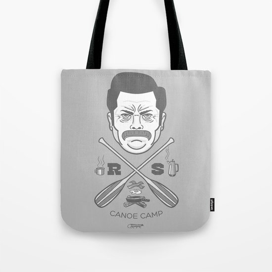 Ron Swanson Canoe Camp (clean gray variant) Tote Bag