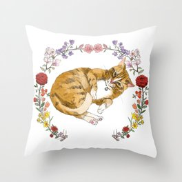 Bon the Cat in Floral Wreath Throw Pillow