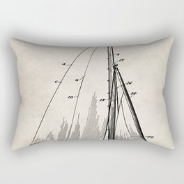 Sailboat Patent - Yacht Art - Antique Rectangular Pillow
