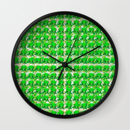 Four leaf clovers and gold horseshoes with green hat that are lucky for some Wall Clock