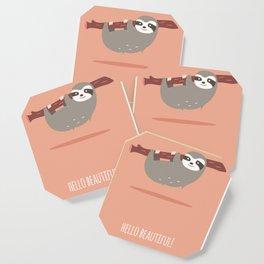 Sloth card - hello beautiful Coaster