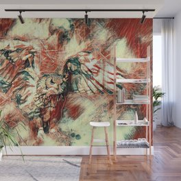 Flying Owl On Yellow Red Background Wall Mural