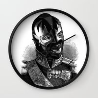 wrestling Wall Clocks featuring WRESTLING MASK 8 by DIVIDUS