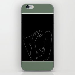 Nude figure line drawing illustration - Cecily Green Border iPhone Skin