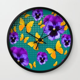TEAL PURPLE PANSIES BUTTERFLY OPTIC ART Wall Clock