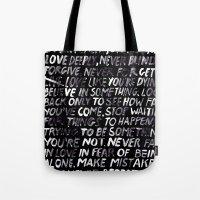 random Tote Bags featuring Random by WRDBNR