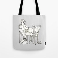 sci fi Tote Bags featuring Sci Fi Afternoon by Madmi