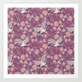 Cranes with chrysanthemums and pink magnolia on purple background Art Print