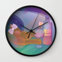 drunk Wall Clocks featuring Drunk Cat by Graphic Tabby