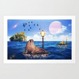 Walrus in a walk by GEN Z Art Print