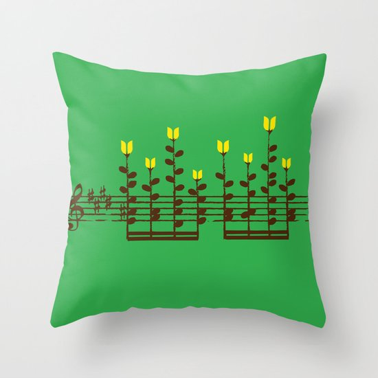 Music notes garden Throw Pillow