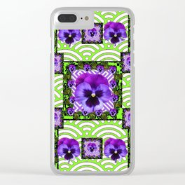 GREEN &  PURPLE PANSY ART ABSTRACT  PATTERN Clear iPhone Case