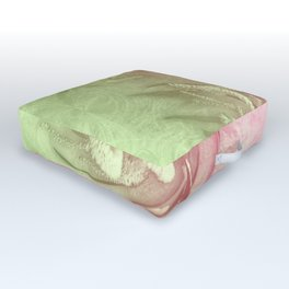Pink and green wattle and kaleidoscope Outdoor Floor Cushion