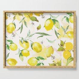 Watercolor lemons Serving Tray