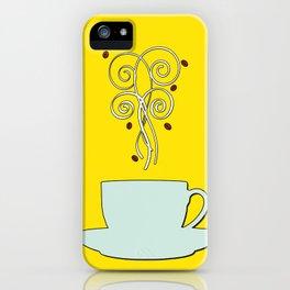 Aaah...coffee...  Retro / Vintage Coffee Print on Hello Sunshine Background iPhone Case