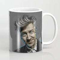 lynch Mugs featuring DAVID LYNCH by AMBIDEXTROUS™