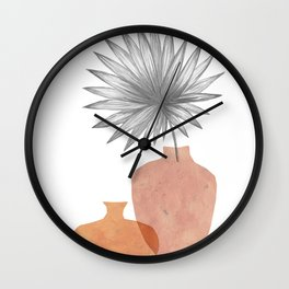 Abstract boho vases and palm leaf Wall Clock