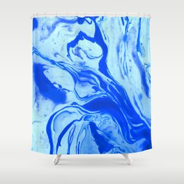 Teal watercolor marble Shower Curtain