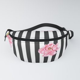Hand painted pink watercolor black white stripes floral Fanny Pack