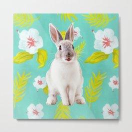 Rabbit on floral pattern Metal Print