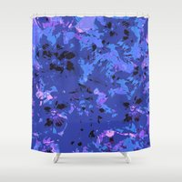 shabby chic Shower Curtains featuring Shabby Chic Blue Floral Abstract by Judy Palkimas