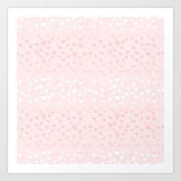 Hearts in light pink Art Print