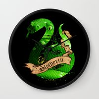 slytherin Wall Clocks featuring Slytherin by Markusian