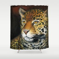 jaguar Shower Curtains featuring Jaguar by Claudia Hahn