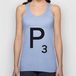 Letter P - Custom Scrabble Letter Tile Art - Scrabble P Initial Unisex Tank Top