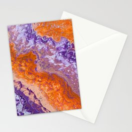 Clemson Orange and Purple Paint Pour Effect Stationery Cards