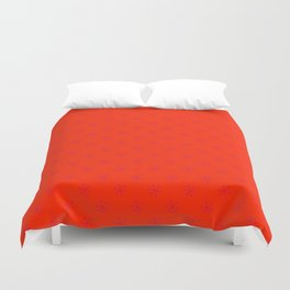 Crimson Red on Scarlet Red Snowflakes Duvet Cover