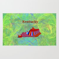 kentucky Area & Throw Rugs featuring Kentucky Map by Roger Wedegis
