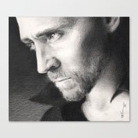 tom hiddleston Canvas Prints featuring Tom Hiddleston by CaptBexx