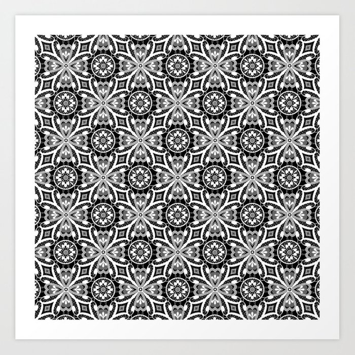Retro . Lace black and white pattern . White lace on a black background . Art Print