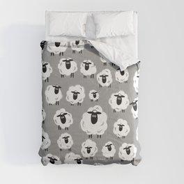 Sheep Well #18 (Gray) - Flock of Sheep - Counting Sheep Comforters