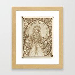 Art Nouveau Girl (Sepia) Framed Art Print