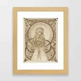 Art Nouveau Girl (Sepia) Framed Art Print