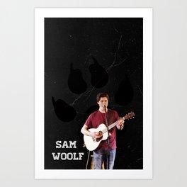Sam Woolf - Black, Wolf Print Art Print