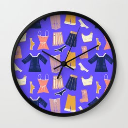 Colorful hanging clothes seamless pattern. Creative and modern graphic design. Vibrant colors. Wall Clock