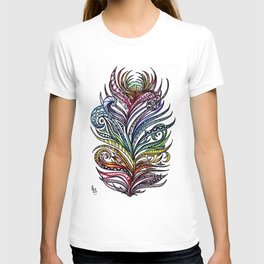 Ornate Rainbow Zentangle Feather T-shirt