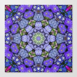 Garden mosaic kaleidoscope mandala - cool blues 2 Canvas Print