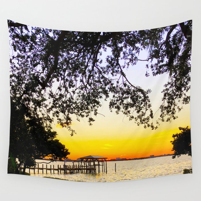 Summer Sunset Over the Bay Wall Tapestry
