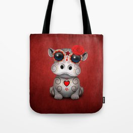 Red Day of the Dead Sugar Skull Hippo Baby Tote Bag