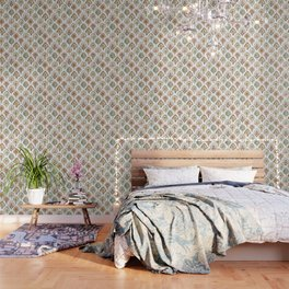 PEACOCK MERMAID Rose Gold Mint Scales and Feathers Wallpaper