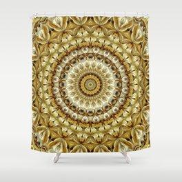 Flower Of Life Mandala (Golden Sunset) Shower Curtain