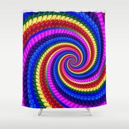 Rainbow Fractal Art Swirl Pattern Shower Curtain
