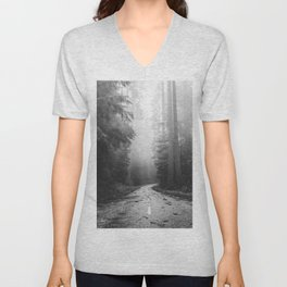 Redwood Forest Adventure Black and White - Nature Photography Unisex V-Neck
